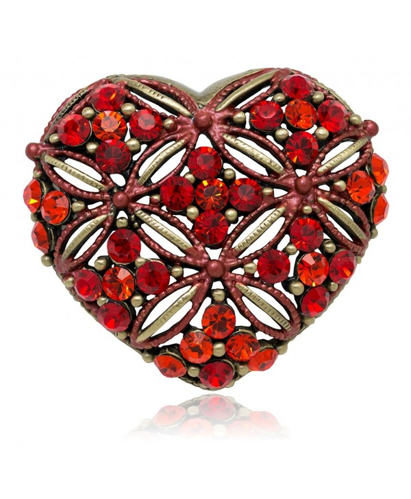 Akianna Antique Gold-tone Swarovski Element Red Crystals Valentine Heart Pin Brooch - CY120A87NX9