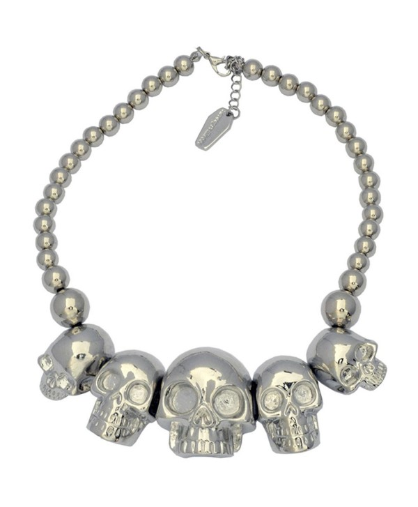 Kreepsville 666 Skull Collection Necklace Metallic Silver - CD123FJ5XD3