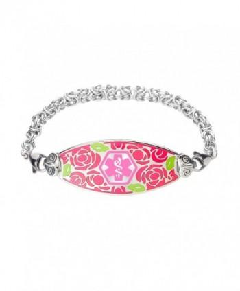 Divoti Custom Engraved Gorgeous Red Rose Medical Alert Bracelet -Handmade Byzantine -Pink - CG12E235L8N