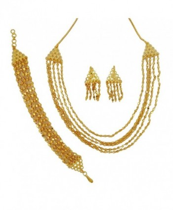 Banithani Indian Traditional Gold Plated Necklace Set Jewelry Gift For Women - Gold-9 - C2120LB1EXL