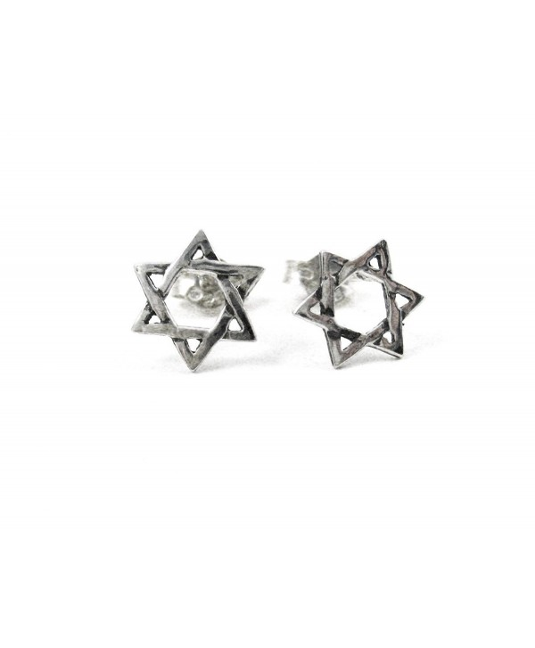 Sterling Silver Star of David Stud Post Earrings - CZ113T5KYKB