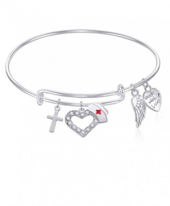 NURSE Expandable Wire Bangle Bracelet with Cross Charm and Angel Wing Charm Silver Finish GIFT BOXED - CI12O8BO6AL