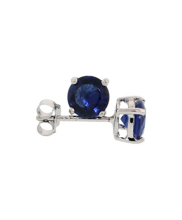 Sterling Silver Cubic Zirconia Sapphire Earrings Studs Navy Color 6 mm Platinum Coated Basket Setting 2 carat/pr - C3114U1VEMF