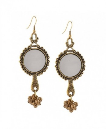Zephyrr Fashion Oxidized Silver Ethnic Dangler Hook Earrings with Mirrors - Golden - CV17Z6ONWSK