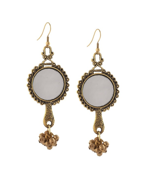 Zephyrr Fashion Oxidized Silver Ethnic Dangler Hook Earrings with Mirrors - Golden - CV17Z6ONWSK