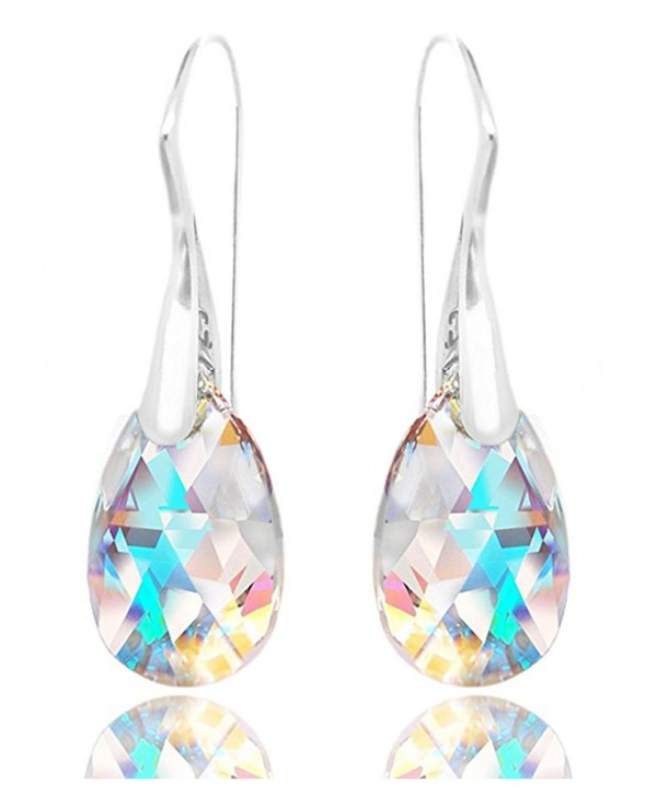 Royal Crystals Sterling Silver Made with Swarovski Crystals Blue Aurora Borealis Drop Dangle Hook Earrings - C111CZ5GU27