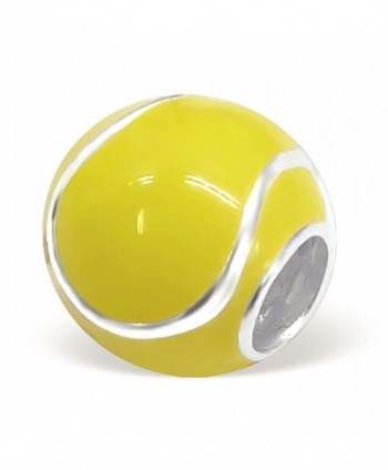 Tennis Ball Charm Bead 925 Sterling Silver Compatible with all European Charm Bracelets - CN1103GJBCL