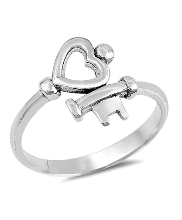 Heart Key Love Promise Ring New .925 Sterling Silver High Polish Band Sizes 4-10 - C5184Y7YRK0