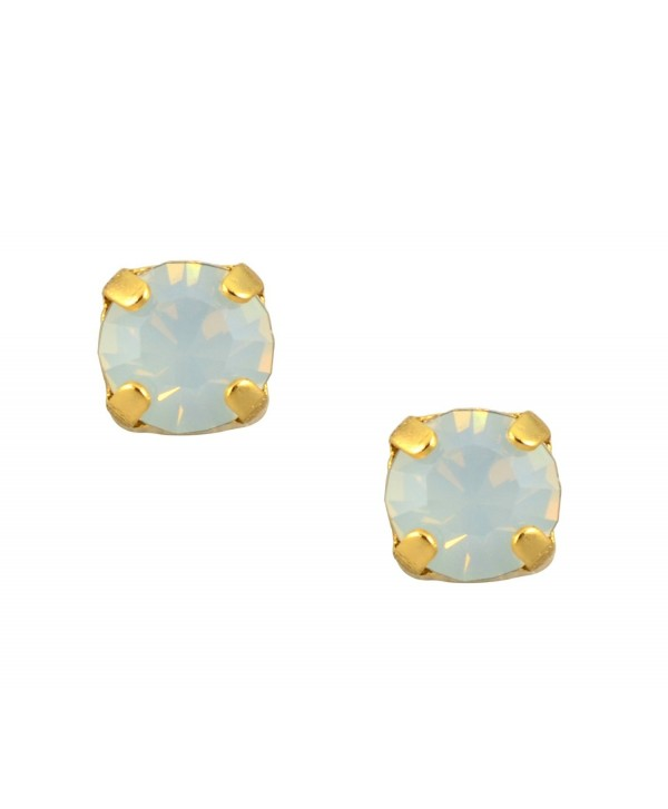 Mariana Yellow Gold Plated Petite Round Crystal Post Earrings in White Opaque - CU11GE6YOR1