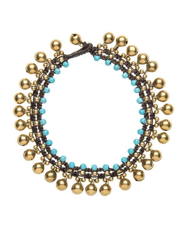 81stgeneration Women's Brass Gold Tone Simulated Turquoise Bead Ankle Anklet Bracelet- 25 cm - CX1141I01G7