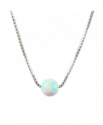 White Opal Ball Sterling Silver Necklace Little Opal Bead Necklace Dot Necklace - C1128Y48IZ9