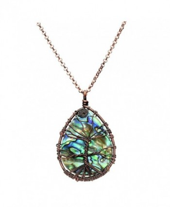 Necklace Wrapped Pendant Gemstone Jewelry - Teardrop(Abalone Shell) - CG182HM4AIG