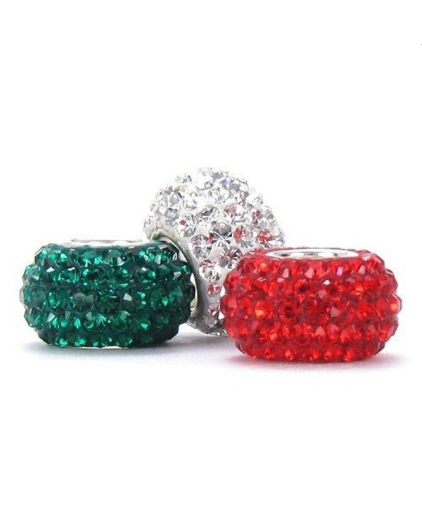 BELLA FASCINI Set of 3 Red White Green Crystal Pave Charm Beads Silver Fits European Bracelets - CE11KLVMZ5X