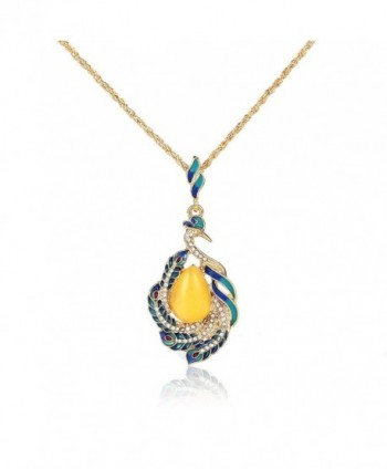 Shevalues Statement Necklace Rhinestone Eco friendly - Peacock Yellow - C3183D48N56