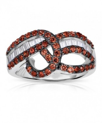 Sterling Silver Infinity Curved Ring with Brown Chocolate and White Cubic Zirconia - CN11M2Q4BAB