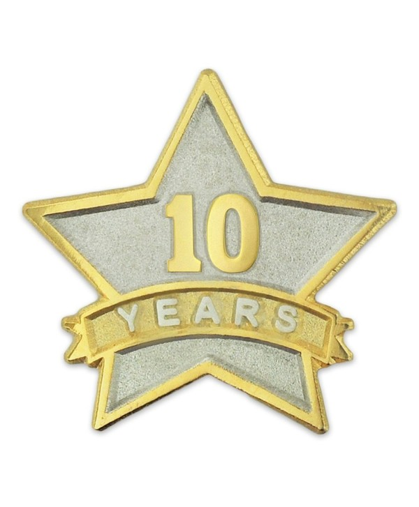 PinMart's 10 Year Service Award Star Corporate Recognition Dual Plated Lapel Pin - CY11NKC2F2D
