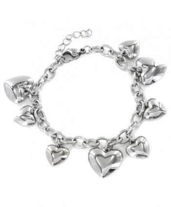 "Women's Stainless Steel Polished Heart Charm Dangle Bracelet - 6.5"" - C1110MCY103"