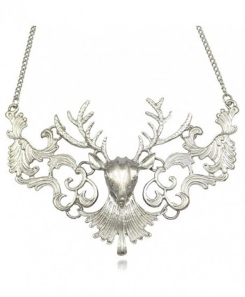Victorian Filigree Scroll Christmas Reindeer Deer Buck Horn Elk Skull Antler Stag Bib Necklace - CF128R3WQIR
