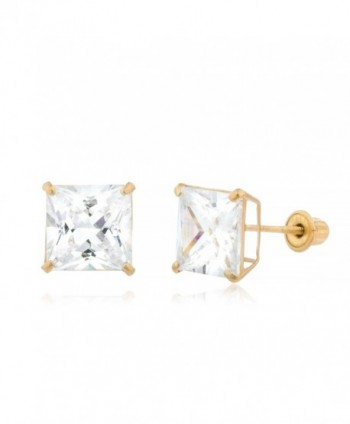 14K Yellow Gold Screwback Earrings Square Cubic Zirconia Studs - CQ1869I2QQT