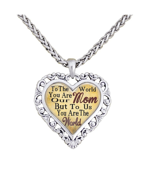 Mom You Are The World To Us Silver Chain Necklace Heart Jewelry Mother - CI12BP2M1KF