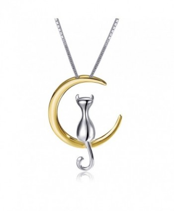S.Leaf Cat Moon Necklace Sterling Silver Cat and Moon Collar Necklace - silver and gold - CX12JWZTW8B