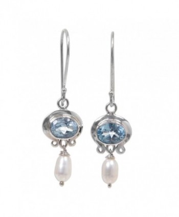 NOVICA Cultured Freshwater Pearl and Blue Topaz Earrings- Sterling Silver Hooks- 'Sky Fantasy' - CM11GQFO939