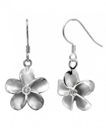 Sterling Silver Plumeria Hook Earrings with CZs- 12mm - C81175T8ATN