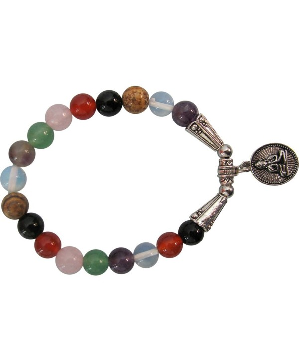 Fashion 8mm Seven Chakra BUDDHA Yoga Meditation Stretch Charm Bracelet - CY129VM11GL