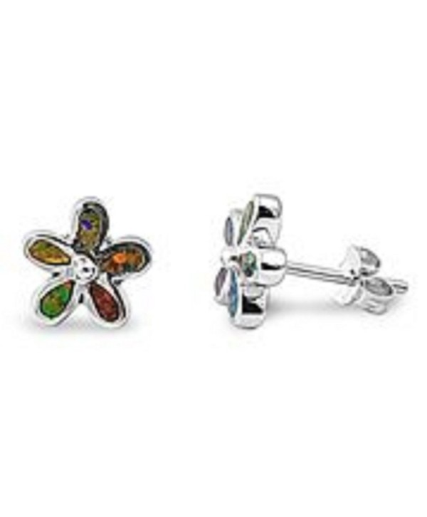 Black Lab Created Opal Plumeria Flower Sterling Silver Small Post Stud Earrings - CO11ESPE5SD