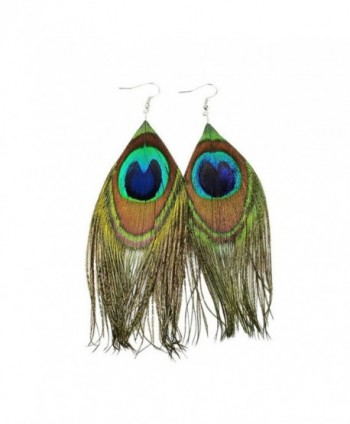 Beautywin Peacock Feather Earring Handmade Cocktail Earring Carnival Jewelry Women Dangle Halloween - CH186HA67Y2