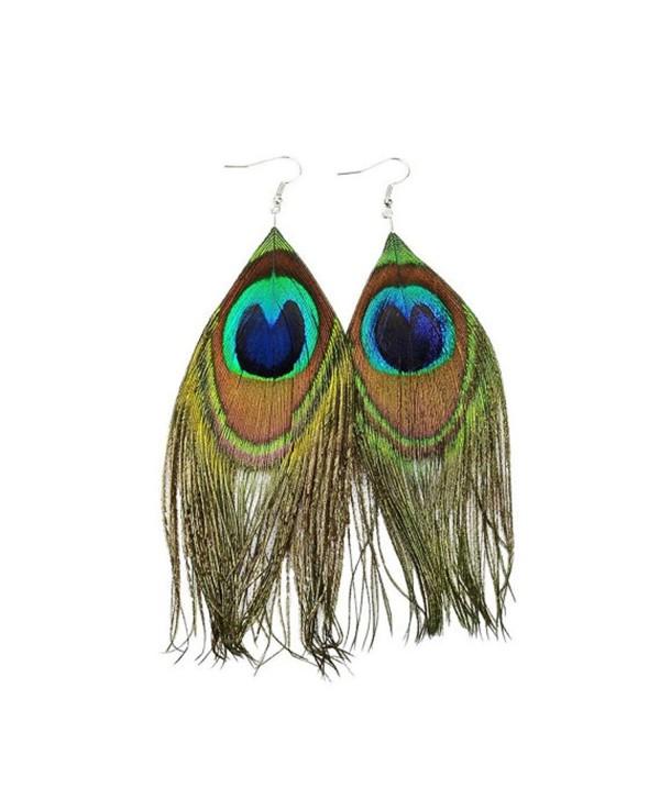 Beautywin Peacock Feather Earring Handmade Cocktail Earring Carnival Jewelry Women Dangle Halloween - CH186HA67Y2