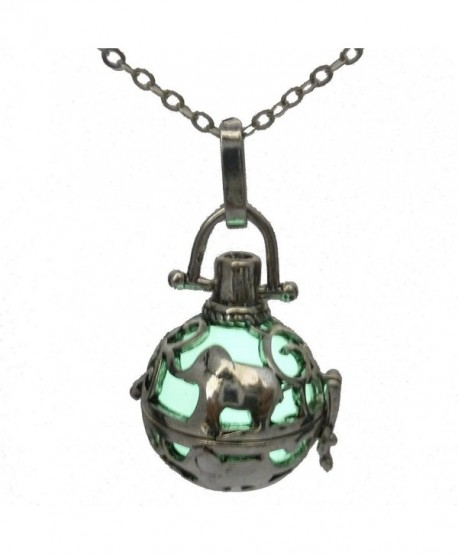 "Glow in the Dark Vintage Silver Elephant Essential Oils Perfume Diffuser Necklace 24"" - CC12ECG2FZH"