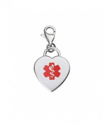 Divoti Custom Engraved Adorable Heart 316L Medical Alert Charm w/ Lobster Clasp-Red - CQ12G2TVY1X