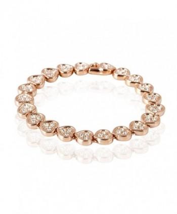 FAIRY COUPLE Two Tone Love Heart Shape with Clear Crystal Link Bracelet Gift B72 - CB11CWJIQGT