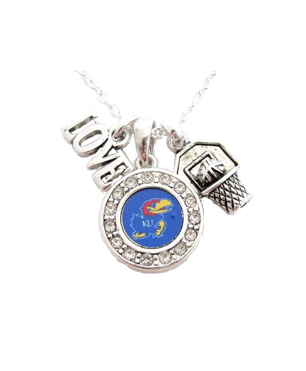 Kansas Jayhawks Multi Charm Love Basketball Blue Silver Necklace Jewelry KU - CC11IRRICJL
