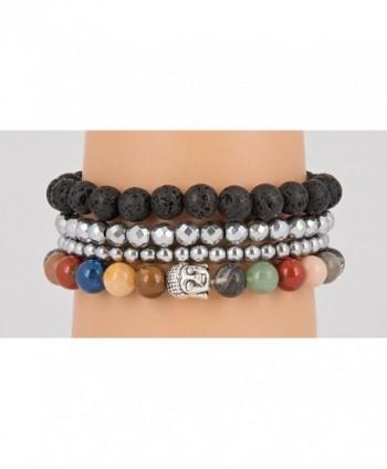 Buddha Bracelets Hematite SPUNKYsoul Collection in Women's Stretch Bracelets