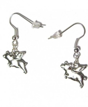 Flying Pigs Silver Plated Charm French Hook Dangle Earrings - C811QNA0DKJ