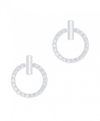 18k Gold Plated Cubic Zirconia Hoop Halo Stud Earrings - C1125XXZCWL