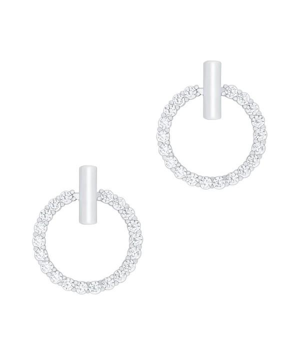 18k Gold Plated Cubic Zirconia Hoop Halo Stud Earrings - C1125XXZCWL