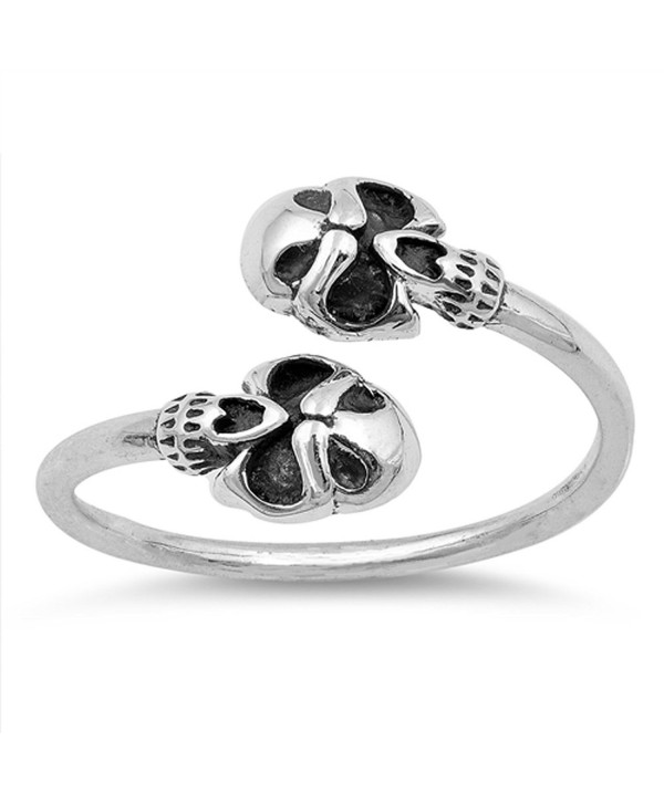 Oxidized Biker Skull Open Adjustable Ring .925 Sterling Silver Band Sizes 4-10 - CZ1854MU48U