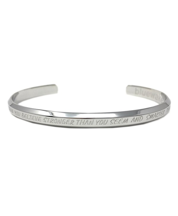 Bluewake & Co. Inspirational Jewelry Adjustable Cuff Band Bangle Mantra Bracelet- 316 L Stainless Steel - CL187U8C8UT