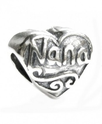 Sterling Silver Love Nana Great Grandma Heart Bead For European Charm Bracelets - CP117GE7V89