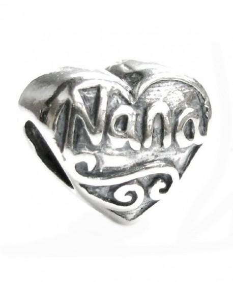 Sterling Silver Love Nana Great Grandma Heart Bead For European Charm Bracelets - CP117GE7V89