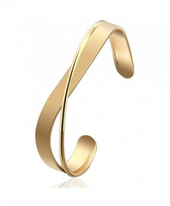 Komene 18K Plated Copper C Shape Open Bangle Cuff Bright Bracelet - Golden - CV1822D30T4
