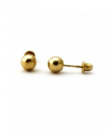 14k Yellow Gold 3mm Ball Stud Earrings with Child Safe Screwbacks - CC128CQJUGF