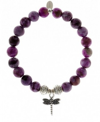 EvaDane Natural Sugilite Gemstone Tibetan Bead Dragonfly Charm Stretch Bracelet - CE12056AP8L