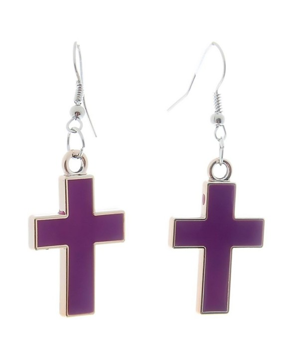 Stylish Bar Block Dangle Earrings Enamel Jewelry - Cross - CQ189XYR2ZI