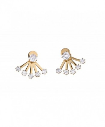 Miss Mozart Stainless Steel Five Rhinestones Ear Jackets Multi-Color Available - Yellow - C412BJAWXR3