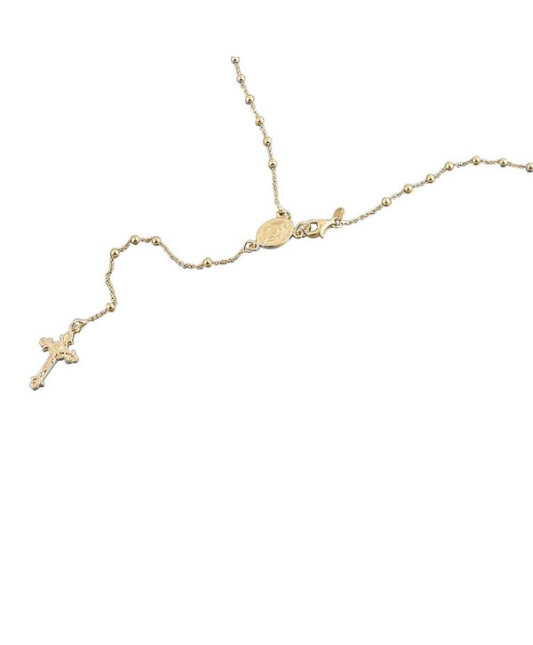 """14K Yellow Gold Plated Sterling Silver Rosary Necklace 2.5mm Bead Cross Italian Rosary Chain ( 16""""~24"""" ) - CI11UZZ22ZN"""