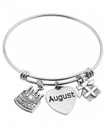 ZuoBao Birthday Gift Jan-Dec Hand Stamped Charm with Birthday Cake Bracelet Birthday Bracelet - August - CT186W5NQSE